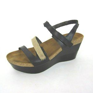 Naot Canaan 39 i Leather Wedge Sandals Black Beige